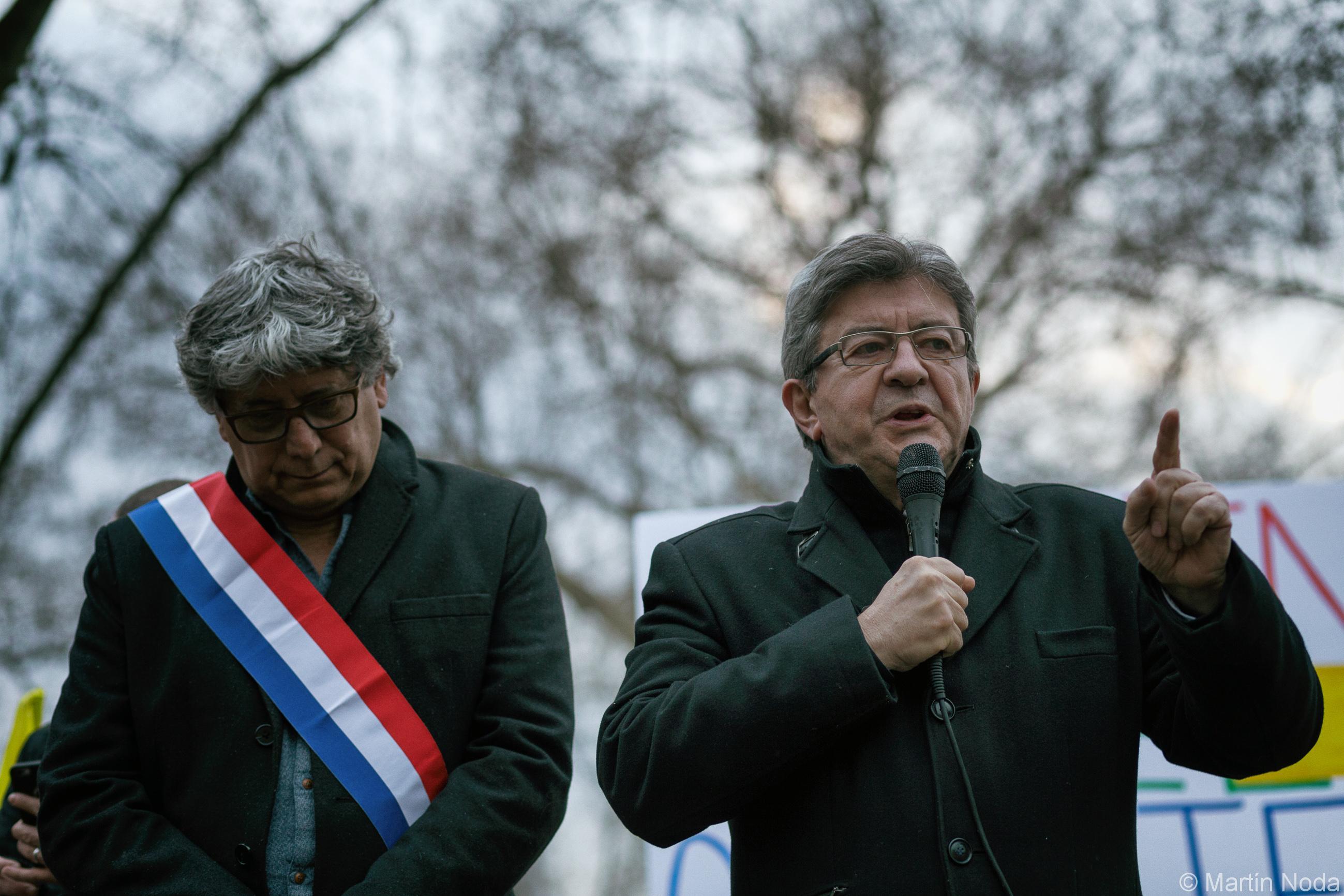 Paris - 26/03/2018 - Rassemblement contre le licenciement de Gaël Quirante à La Poste - Jean-Luc Mélenchon et Eric Coquerel