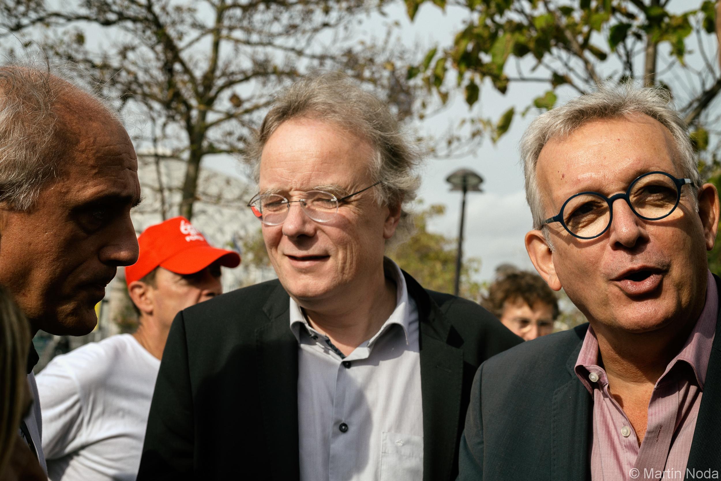 Paris - 12/10/2018 - Rassemblement des travailleur.euse.s de Ford Blanquefort devant le salon de l'auto - Pierre Laurent, Philippe Poutou et Jacques Baudrier