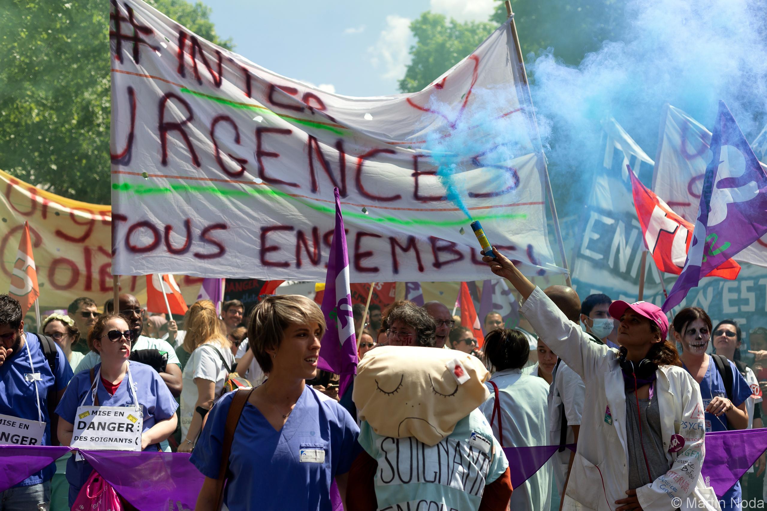 Manifestation des travailleurs des urgences à Paris. 06/06/2019.