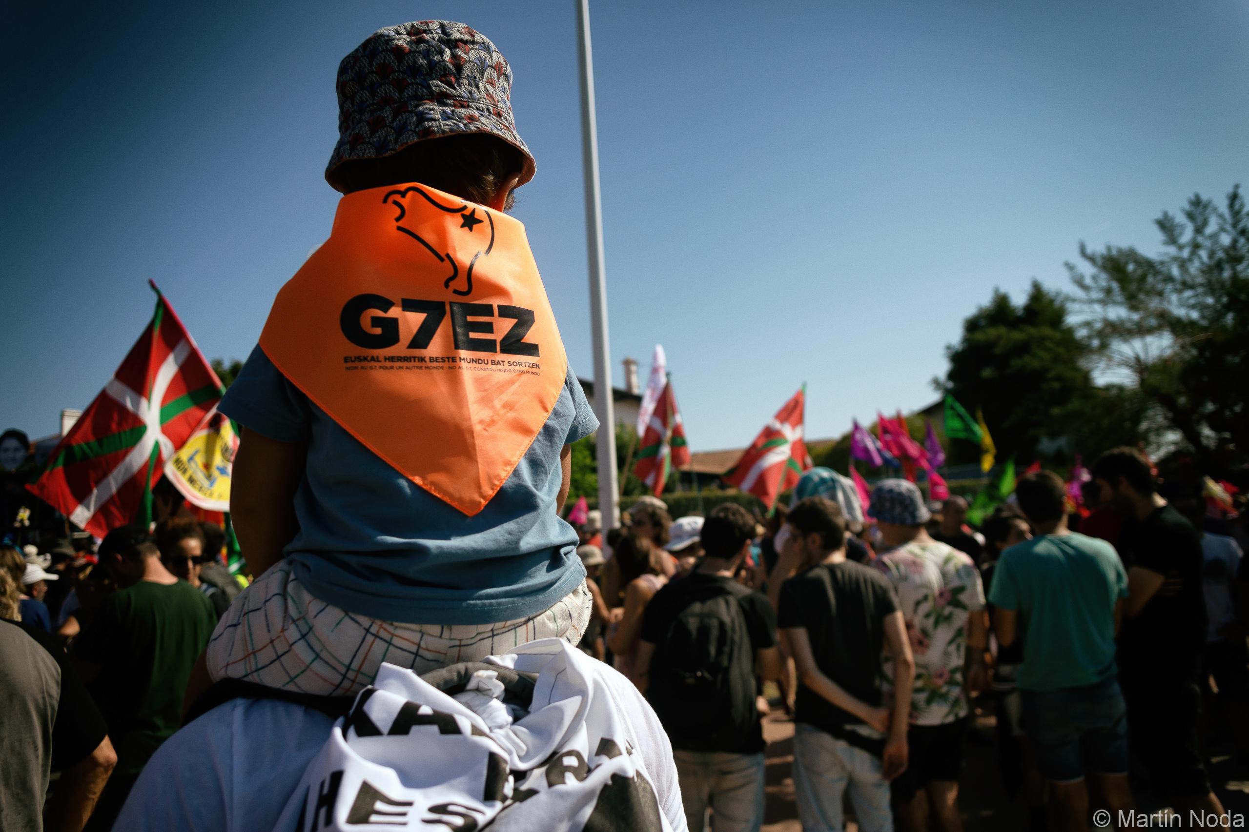 Manifestation contre le G7 à Hendaye. 24/08/2019.